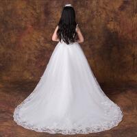 女童主持晚礼服拖尾冬季 儿童礼服蓬蓬裙公主裙白色演出服花童婚纱