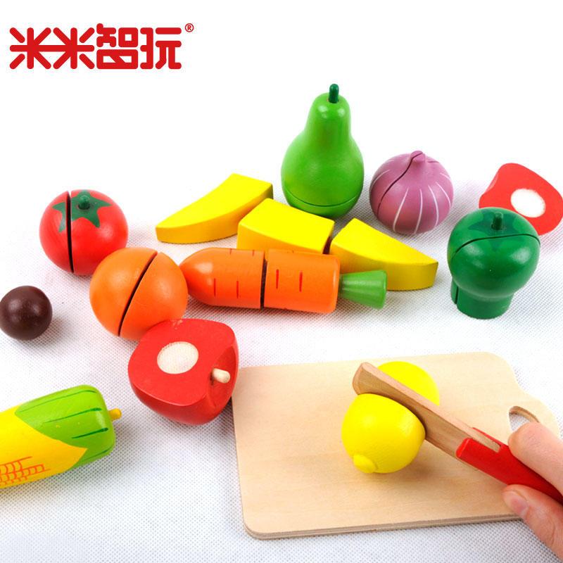 【领券立减50元】米米智玩 儿童玩具 水果蔬菜切切看切水果玩具 早教积木木质切切乐厨房玩具幼儿园玩具活动专属【领券立减50元】 儿童早教益智玩具大促