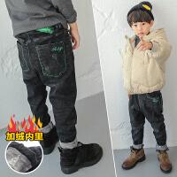 男童裤子长裤2017新款潮冬季儿童加绒牛仔裤小脚磨毛加厚冬装保暖