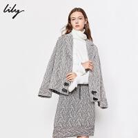 【3件2折 到手价262】Lily羊毛人字纹宽松短款毛呢外套