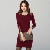 秋冬新款大码修身包臀连衣裙长款加绒加厚长袖打底衫