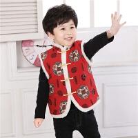 儿童唐装男童马甲冬装外套夹棉背心中式新年装新品 花色