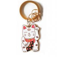小样合金钥匙扣包链挂件钥匙圈女钥匙链环情侣 招桃花猫 钥匙扣