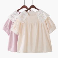 2018夏季新款韩版宽松高腰花边领娃娃衫雪纺衫纯色甜美复古泡泡袖