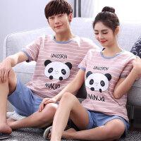20180613073848393情侣睡衣纯棉短袖夏季韩版男女士可爱全棉卡通夏天家居服套装外穿