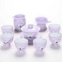 整套功夫茶具套装景德镇手绘粉彩描金陶瓷茶壶盖碗茶杯