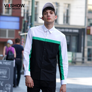 viishow秋季新品男士长袖衬衫 方领撞色纯棉衬衣 青年上衣男