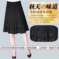 新品中老年女装半身裙妈妈装秋冬裙子中年半身裙中百褶裙高腰厚裙