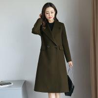 秋冬新款韩版修身气质羊毛呢外套女中长款一粒扣双面羊绒呢子大衣