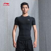 李宁健身衣男士新款专业系列短袖弹性紧身短装夏季运动服AUDN015