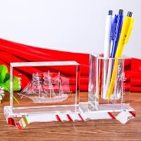 毕业纪念礼物水晶笔筒定制刻字商会会议同学会送老师礼品创意礼品定制