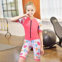 新款中大童游泳衣少女儿童连体泳衣带拉链长袖腿运动女孩防晒泳衣 西瓜红 拼色