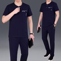 中老年人短袖运动套装时尚男士休闲跑步长裤运动服棉爸爸装潮