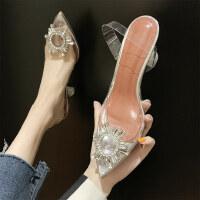 时尚细跟水钻温柔鞋女 透明高跟鞋百搭凉鞋女 新款水晶尖头单鞋女