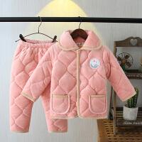 冬季儿童睡衣夹棉男童女童宝宝三层保暖法兰绒家居服套装