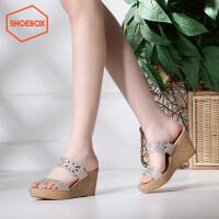 达芙妮旗下SHOEBOX/鞋柜夏季高跟一字拖凉鞋时尚水钻套脚女鞋拖鞋