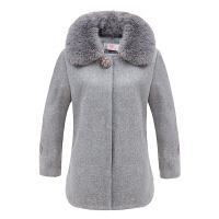 中老年秋冬装新款毛呢外套女加厚40岁50妈妈装短款呢子上衣带毛领