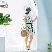 【2件8折/3件75折】云上生活女装夏装清新薄荷绿裙宽松无袖A字裙连衣裙L7769