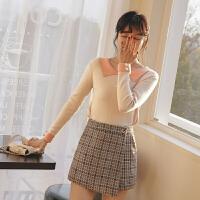 学生打底针织衫2020春季新款女韩版修身显瘦短款套头内搭上衣毛衣