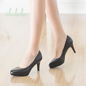 Daphne/达芙妮/杜拉拉秋季女鞋 细高跟防水台牛皮圆头浅口单鞋子