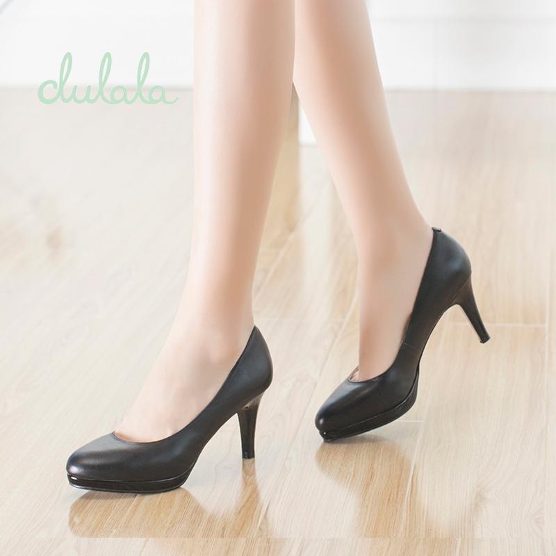 达芙妮/杜拉拉秋季女鞋 细高跟防水台牛皮圆头浅口单鞋子