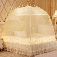 蒙古包蚊帐1.5m床1.8米有底三开门双人家用蕾丝花边双拉链 夏季