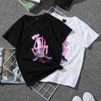【下单立减120元 仅限今日】2018新款夏季宽松短袖圆领卡通粉红豹女T恤学院风上衣潮