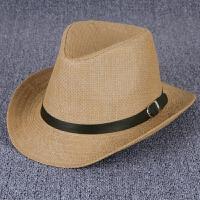 中老年人夏季帽子男士礼帽爵士帽爸爸夏天遮阳亚麻草凉帽老人网帽