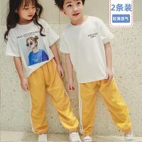 舒贝怡 2件装儿童裤子男女童防蚊裤夏季薄款裤子运动风宝宝灯笼裤