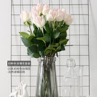 仿真花束单支假花创意家居装饰品高品质手感保湿玫瑰花瓶摆件