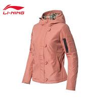 李宁短款短棉服女士运动生活系列保暖休闲连帽上衣女装运动服AJMK032