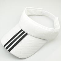 夏季户外运动跑步防�鹫谘粑薅ネ�球帽潮男女空顶太阳鸭舌棒球帽子 白色 条纹款 可调节