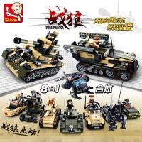 小鲁班 战狼特种部队拼装积木8合1坦克装甲车飞机军事益智拼插玩具