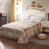 棉磨毛床单单件春秋加厚床上用品棉布料被单子单双人加大床单T 玫红色 浅黄色 球的记忆