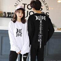 情侣装外套新款韩版时尚bf长袖卫衣春秋季男女学生班服套装潮 白色上衣 S