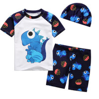 儿童泳衣男童分体短袖卡通游泳衣幼儿宝宝平角泳装温泉套装