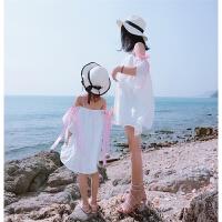 2018夏装新款亲子装女童雪纺吊带沙滩裙母女装海边度假漏肩连衣裙