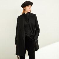 【到手价:630元】Amii极简英伦风羊毛呢双面呢大衣女2019冬季新款宽松中长黑色外套