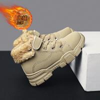 儿童黑色短靴中大童冬季保暖男童棉鞋小学生时尚棉靴