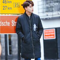 冬季新款韩版休闲青年加肥加大码男士百搭中长款羽绒服 黑色 M