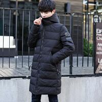中长款羽绒服男士连帽韩版修身纯色冬装加厚帅气青年潮流休闲外套 黑色