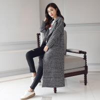 格子毛呢外套女2017秋冬新款中长款呢子大衣学生韩版复古过膝加厚