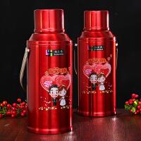 思泽 婚礼红色不锈钢家用保温壶热水瓶婚庆暖壶 结婚女方陪嫁用品 3.2L大暖壶(牵手款2个)