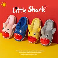 儿童棉拖鞋1-3岁2男童女家居鞋室内软底卡通立体鲨鱼宝宝拖鞋冬季