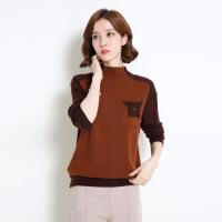 拼接撞色女式针织羊毛衫 韩版半高领长袖针织毛衣 打底羊毛衫女