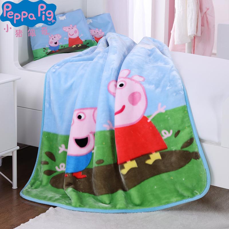Peppa Pig 小猪佩奇儿童男女孩宝宝幼儿园3-6周岁卡通被子午睡盖毯空调被枕