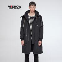 VIISHOW冬装新款棉服韩版潮中长款外套男士棉袄青年连帽棉衣