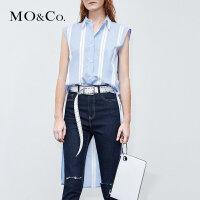 MOCO夏季新品拼接无袖条纹衬衫上衣 MA182SHT120摩安珂