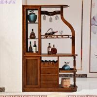 实木酒柜隔断柜进门玄关柜中式间厅柜现代简约双面客厅门厅装饰柜 组装