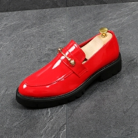 漆皮尖头皮鞋男英伦套脚懒人休闲鞋厚底增高鞋发型师潮流红色男鞋